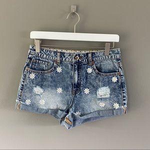 Forever 21 Daisy Denim Shorts Blue Sz 28